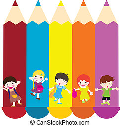 children and color pencils - jumping children carrying bags...