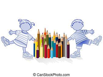 children and colored pencil
