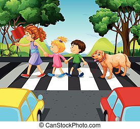 Children and dog crossing the road