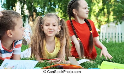 Children and education, a group of schoolchildren