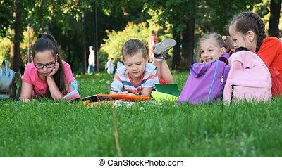 Children and education, a group of schoolchildren - Children...
