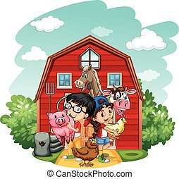 Children And Farm Animals