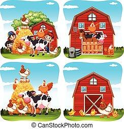 Children and farm animals on the farm