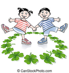children and four-leafed clover
