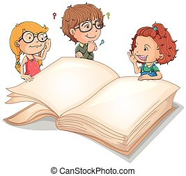 Children and giant book