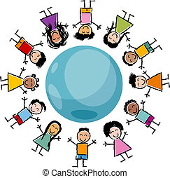 children and globe cartoon illustration - Cartoon ...