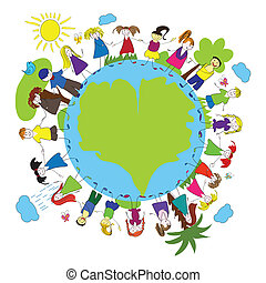 Children and green planet