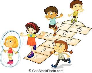 Children and hopscotch
