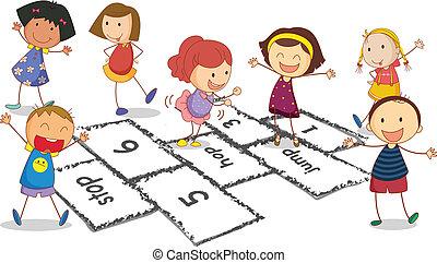 Children and hopscotch - Illustration of many children...
