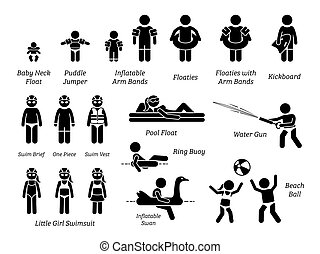 Children and kids swimming aids, safety equipment, recreational gears, and swimming pool water toys stick figure icons pictogram.