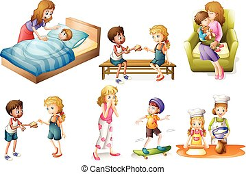 Children and mother doing different activities illustration