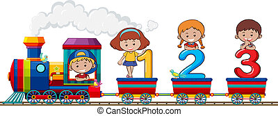 Children and number on the train