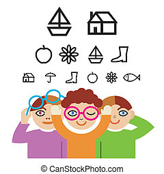 Children and optometry test - Three children with pictograms...