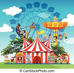 Children and people at the amusement park illustration