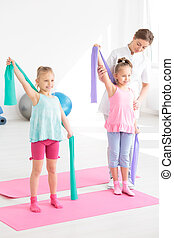 Children and physiotherapist