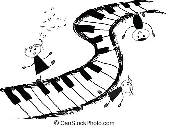 Children and piano keyboard - Children singing on piano...