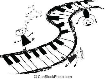 Children singing on piano keyboard