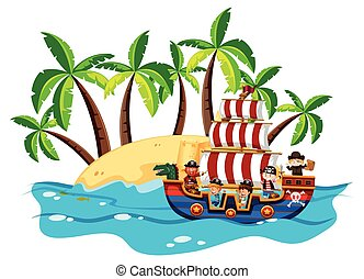 Children and pirate on viking ship