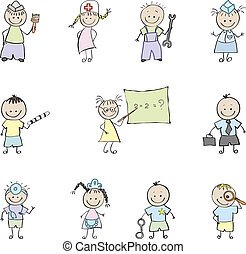 children and profession in color
