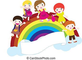 children and rainbow background - happy children with ...