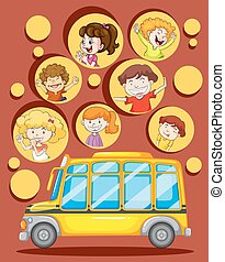Children and school bus