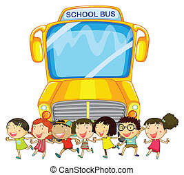 Children and school bus - illustration of many children and...