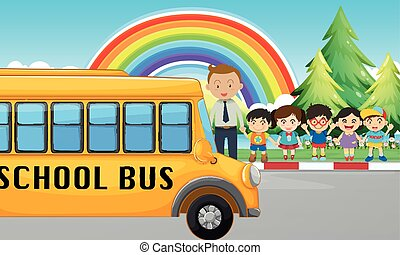 Children and school bus on the road