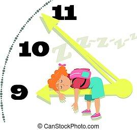 Children and sleep - Little girl asleep on a chock arm, EPS...