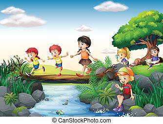 Children and stream - Illustration of children crossing a ...