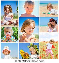children and summer collage