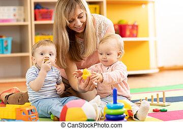 Children and teacher at Kindergarten