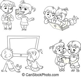 Children and technical progress. Coloring book