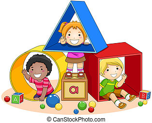 Children and Toy Blocks with Clipping Path