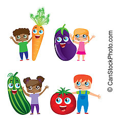 children and vegetables