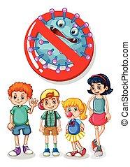 Children and virus sign