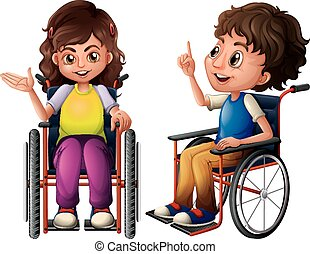 Children and wheelchair - Illustration of a boy and a girl...