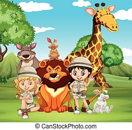 Children and wild animals in the park