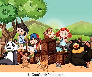Children and wild animals outside illustration