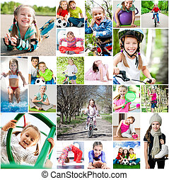 children are involved in sports. collage of photos
