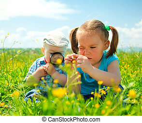 Children are playing on green meadow examining field flowers...