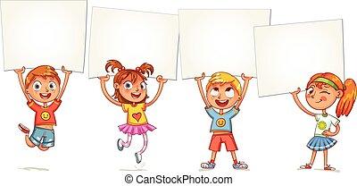 Children are raised up placard - Children holding empty ...