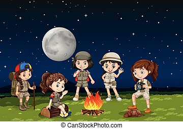 Children around a camp fire