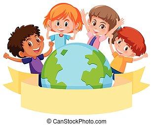 Children around a globe with banner
