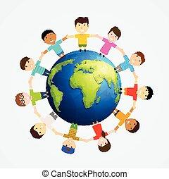 Children around Earth.