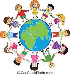 Children around planet - Children holding for hands around...
