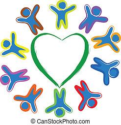 Children around the heart - Happy children arround the heart