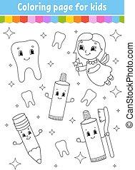 children., arrière-plan., livre, page, mignon, isolé, fantasme, gai, vecteur, dessin animé, silhouette., kids., contour, illustration., style., noir, coloration, character., blanc