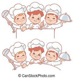 Children as little chefs. Banner. - Cartoon kids as little...