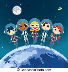 Children Astronaut Dream - Five cute children astronaut...