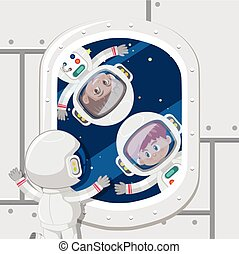 Children astronauts in space